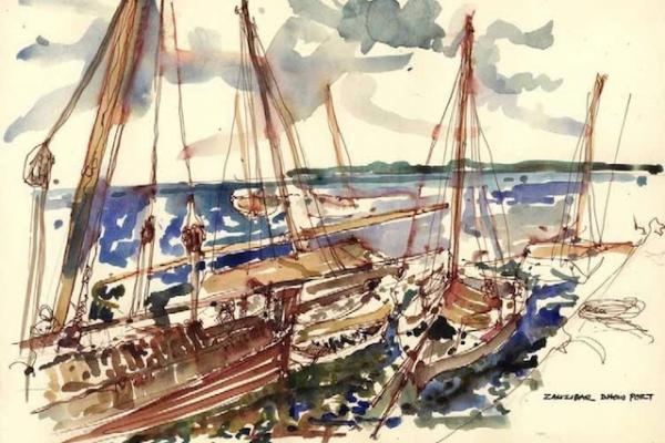 Zanzibar, Stone Town, dhows tied up in the harbour - watercolour sketch by Archie Walls